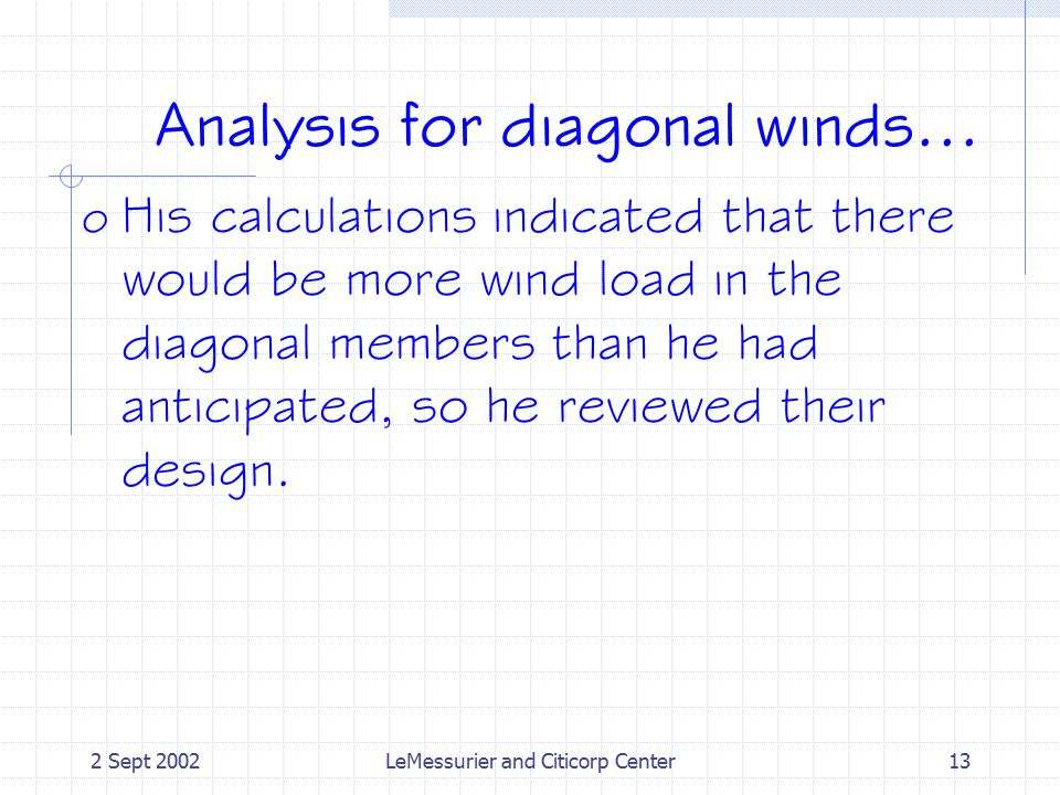 2 Sept 2002LeMessurier and Citicorp Center13 Analysis for diagonal winds...