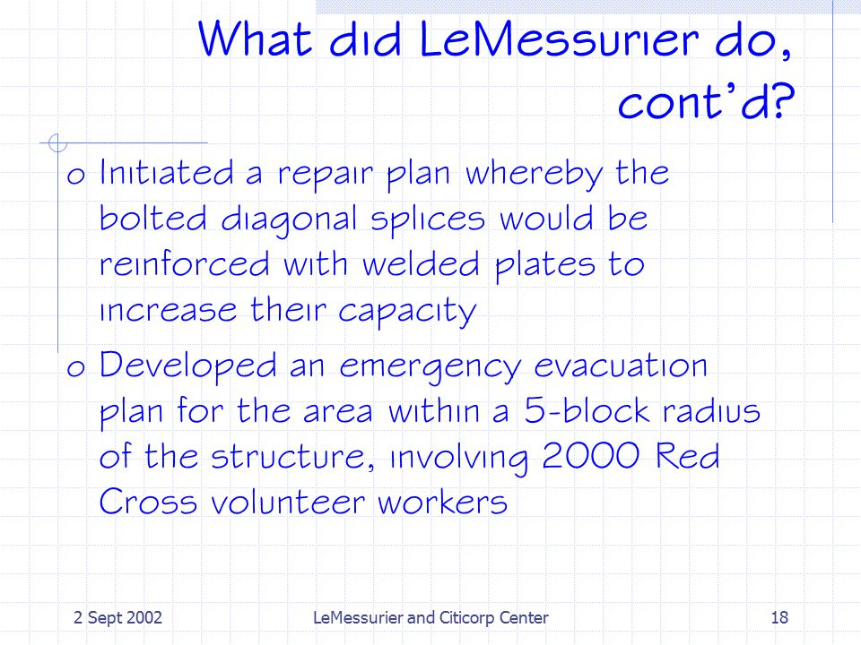 2 Sept 2002LeMessurier and Citicorp Center18 What did LeMessurier do, cont'd.