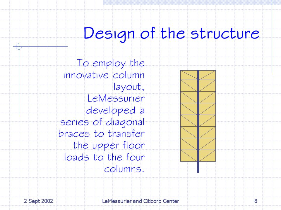 2 Sept 2002LeMessurier and Citicorp Center8 Design of the structure To employ the innovative column layout, LeMessurier developed a series of diagonal braces to transfer the upper floor loads to the four columns.