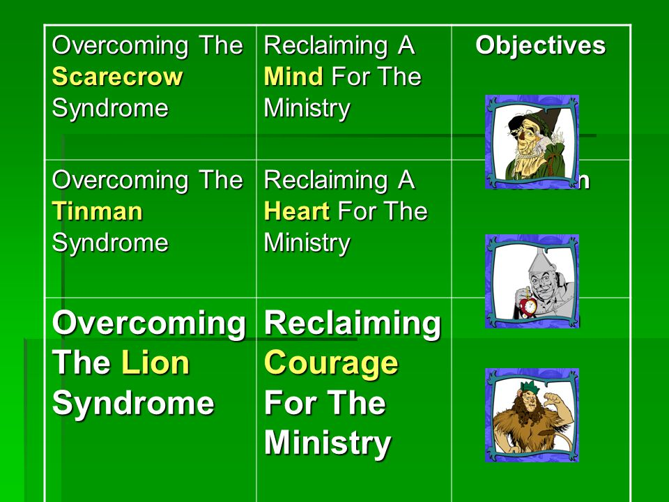 Overcoming The Scarecrow Syndrome Reclaiming A Mind For The Ministry Objectives Overcoming The Tinman Syndrome Reclaiming A Heart For The Ministry Passion Overcoming The Lion Syndrome Reclaiming Courage For The Ministry Action