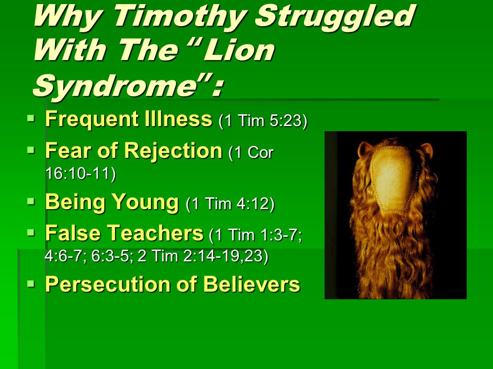 Why Timothy Struggled With The Lion Syndrome :  Frequent Illness (1 Tim 5:23)  Fear of Rejection (1 Cor 16:10-11)  Being Young (1 Tim 4:12)  False Teachers (1 Tim 1:3-7; 4:6-7; 6:3-5; 2 Tim 2:14-19,23)  Persecution of Believers