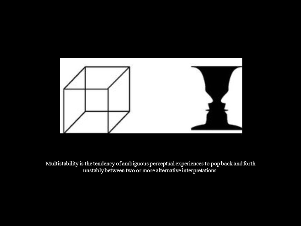 Multistability is the tendency of ambiguous perceptual experiences to pop back and forth unstably between two or more alternative interpretations.