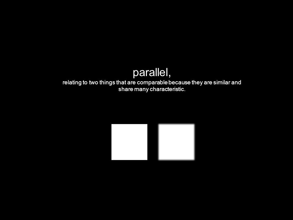 parallel, relating to two things that are comparable because they are similar and share many characteristic.