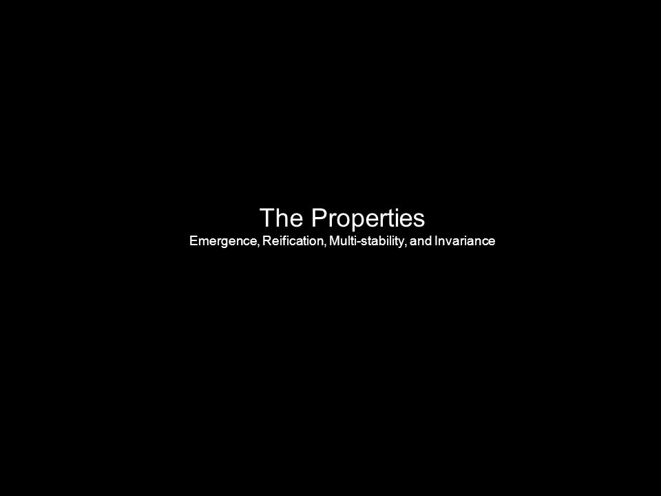 The Properties Emergence, Reification, Multi-stability, and Invariance