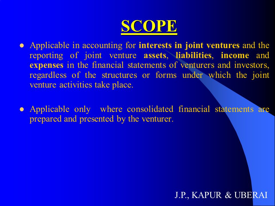 DEFINITIONS DEFINITIONS A joint venture is a contractual arrangement whereby two or more parties undertake an economic activity, which is subject to joint control.