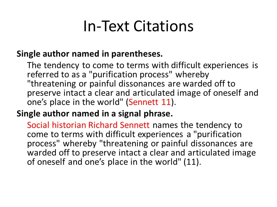In-Text Citations Single author named in parentheses. The tendency to come to terms with difficult experiences is referred to as a
