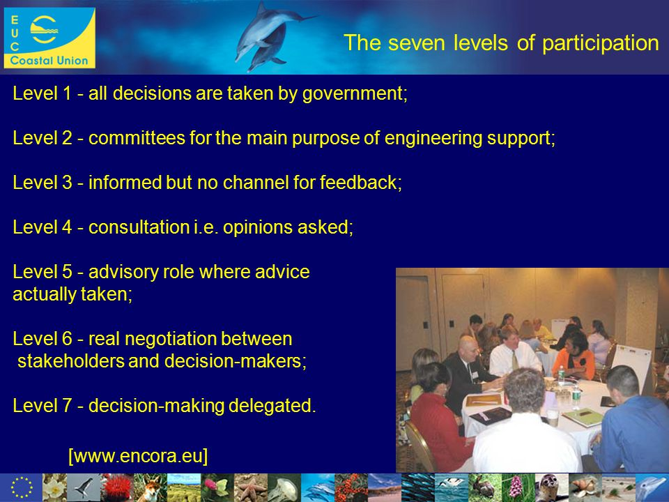 www.dolphinfund.eu The seven levels of participation Level 1 - all decisions are taken by government; Level 2 - committees for the main purpose of engineering support; Level 3 - informed but no channel for feedback; Level 4 - consultation i.e.