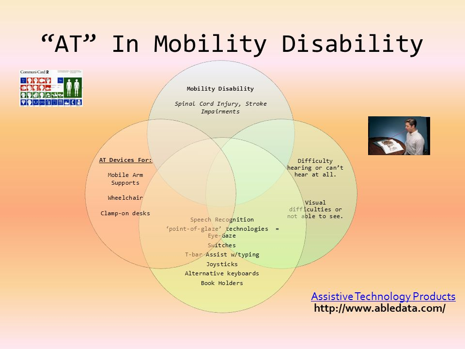 AT In Mobility Disability Mobility Disability Spinal Cord Injury, Stroke Impairments Difficulty hearing or can't hear at all.