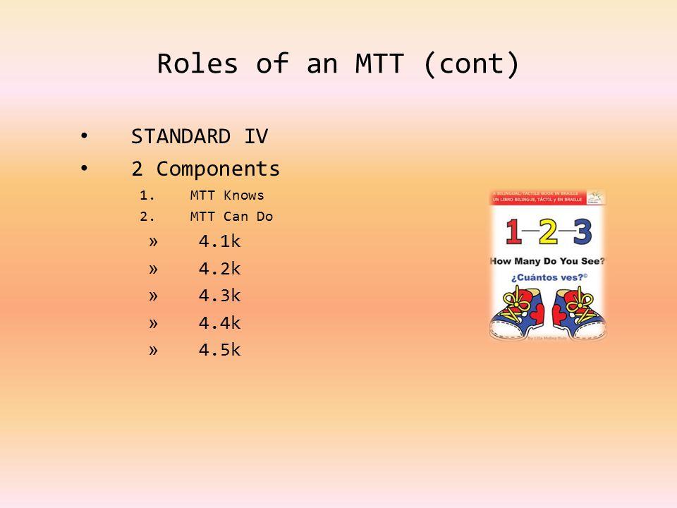 Roles of an MTT (cont) STANDARD IV 2 Components 1.MTT Knows 2.MTT Can Do » 4.1k » 4.2k » 4.3k » 4.4k » 4.5k