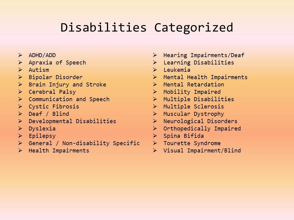 Disabilities Categorized  ADHD/ADD  Apraxia of Speech  Autism  Bipolar Disorder  Brain Injury and Stroke  Cerebral Palsy  Communication and Speech  Cystic Fibrosis  Deaf / Blind  Developmental Disabilities  Dyslexia  Epilepsy  General / Non-disability Specific  Health Impairments  Hearing Impairments/Deaf  Learning Disabilities  Leukemia  Mental Health Impairments  Mental Retardation  Mobility Impaired  Multiple Disabilities  Multiple Sclerosis  Muscular Dystrophy  Neurological Disorders  Orthopedically Impaired  Spina Bifida  Tourette Syndrome  Visual Impairment/Blind