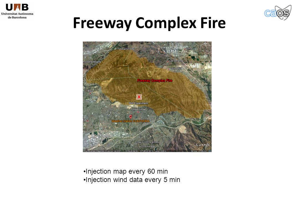 Freeway Complex Fire Injection map every 60 min Injection wind data every 5 min