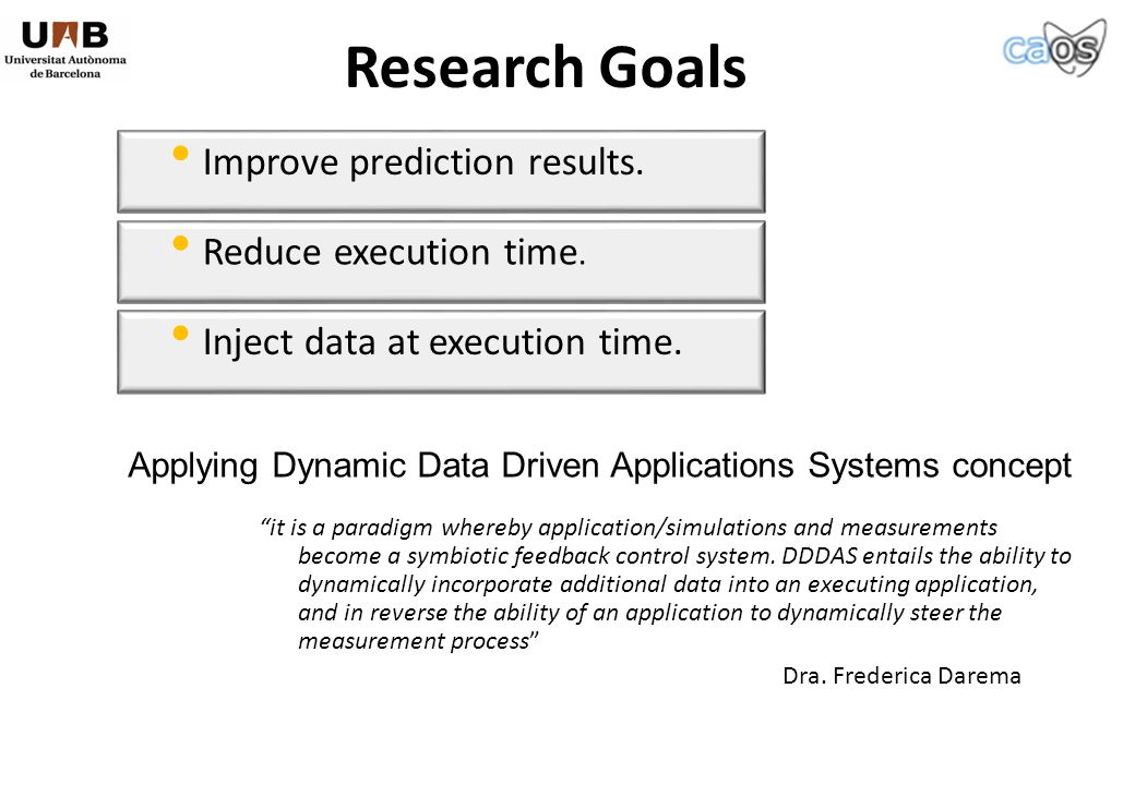 Improve prediction results. Research Goals Reduce execution time.