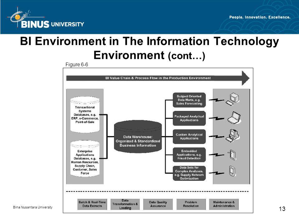 Bina Nusantara University 13 BI Environment in The Information Technology Environment (cont…) Figure 6-6