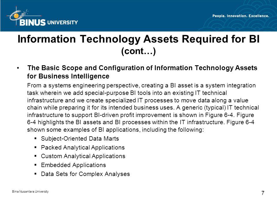 Bina Nusantara University 7 Information Technology Assets Required for BI (cont…) The Basic Scope and Configuration of Information Technology Assets f