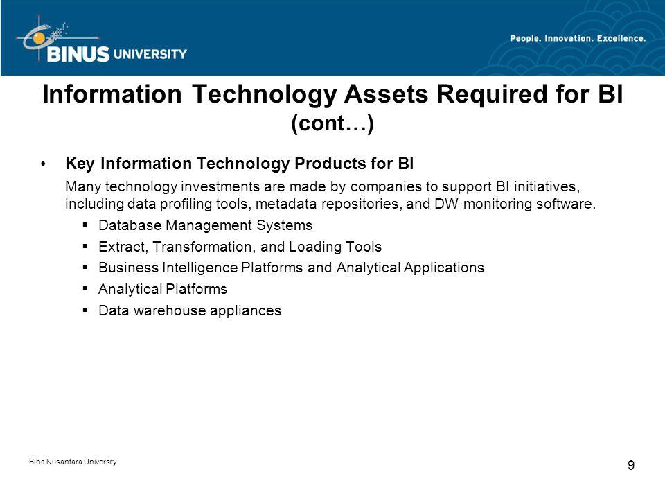 Bina Nusantara University 9 Information Technology Assets Required for BI (cont…) Key Information Technology Products for BI Many technology investmen