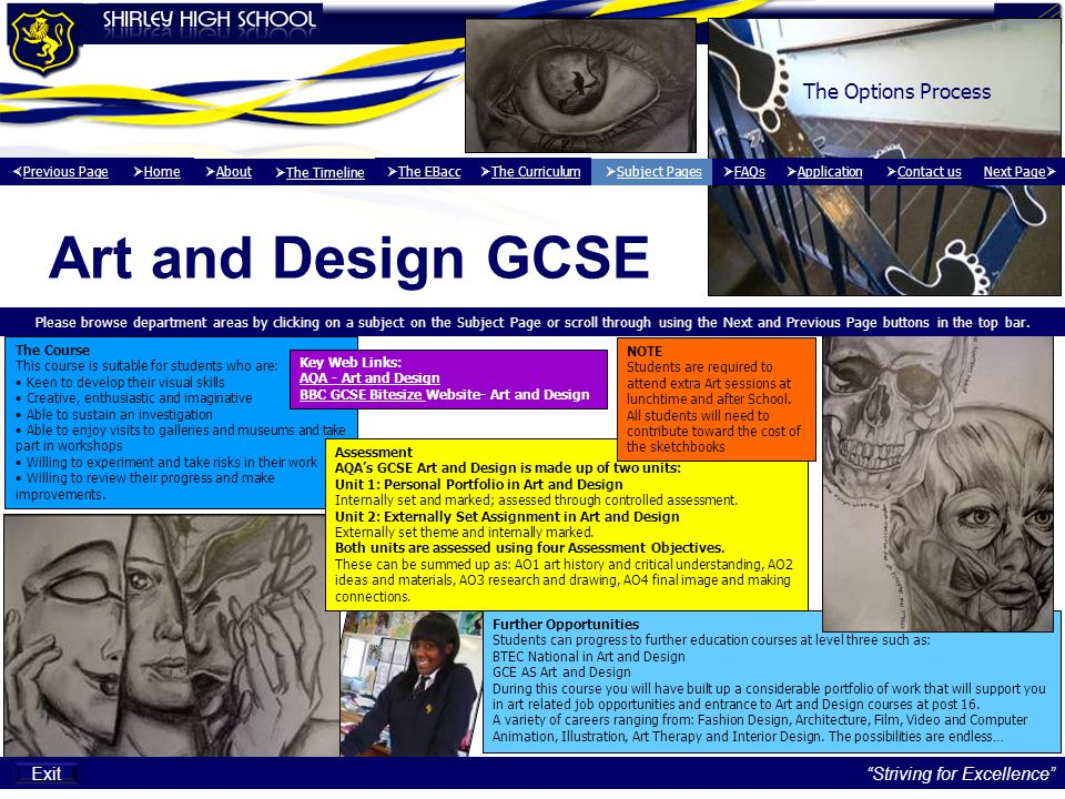 Next page   Back to Drama Home Page Striving for Excellence Exit Further Opportunities GCSE drama provides a platform for anyone wanting to succeed creatively in future careers through the study of A Level Drama and Theatre Studies here at Shirley.