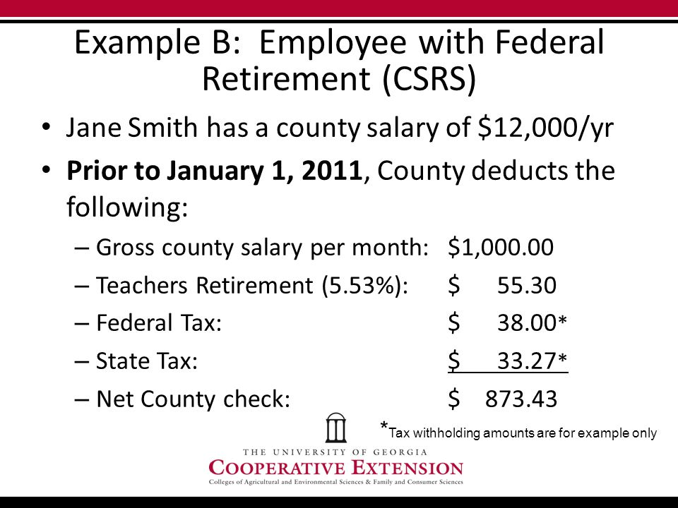 Example B: Employee with Federal Retirement (CSRS) Jane Smith has a county salary of $12,000/yr Prior to January 1, 2011, County deducts the following: – Gross county salary per month: $1,000.00 – Teachers Retirement (5.53%): $ 55.30 – Federal Tax:$ 38.00 * – State Tax:$ 33.27 * – Net County check:$ 873.43 * Tax withholding amounts are for example only