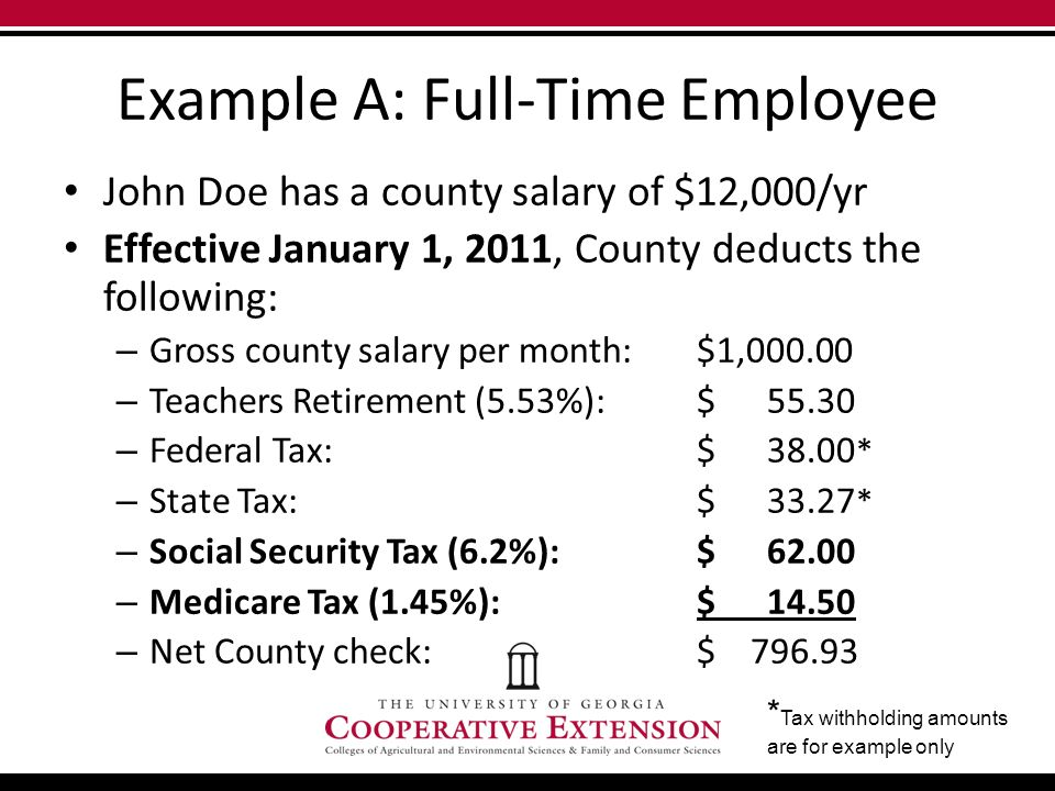 Example A: Full-Time Employee John Doe has a county salary of $12,000/yr Effective January 1, 2011, County deducts the following: – Gross county salary per month: $1,000.00 – Teachers Retirement (5.53%): $ 55.30 – Federal Tax:$ 38.00 * – State Tax:$ 33.27 * – Social Security Tax (6.2%):$ 62.00 – Medicare Tax (1.45%):$ 14.50 – Net County check:$ 796.93 * Tax withholding amounts are for example only