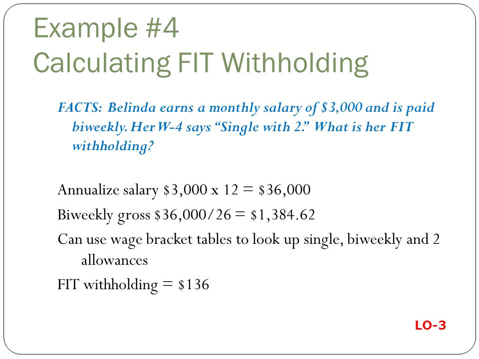 Example #4 Calculating FIT Withholding FACTS: Belinda earns a monthly salary of $3,000 and is paid biweekly.