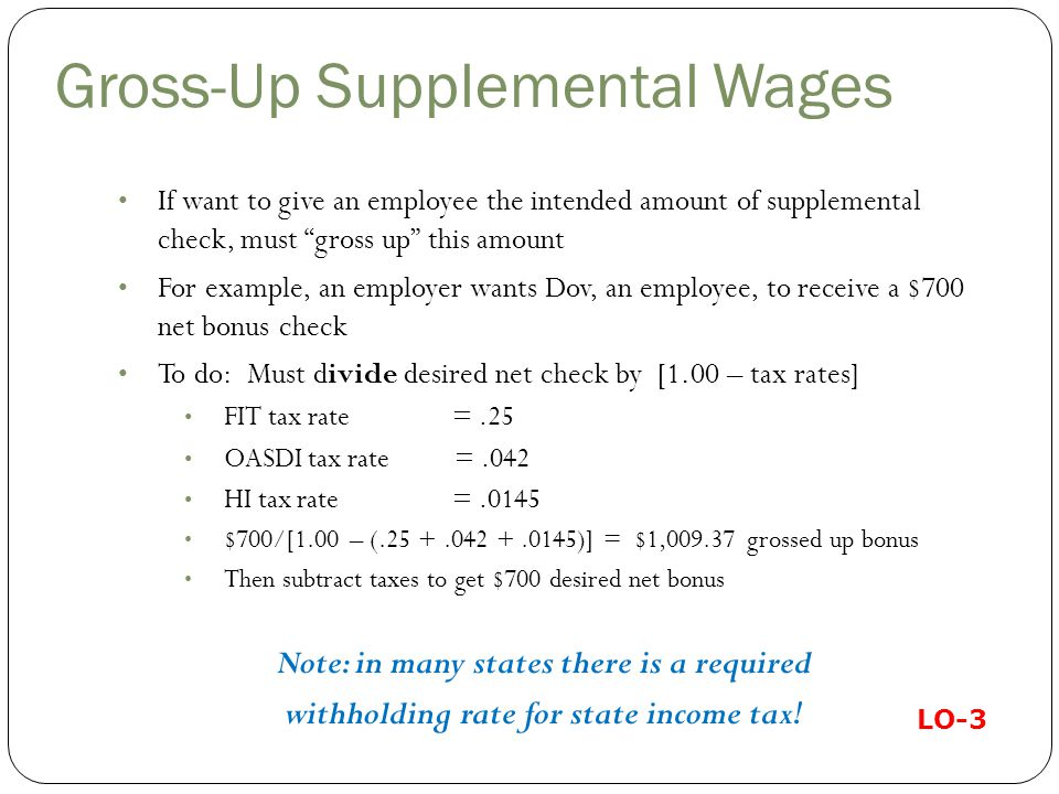 Gross-Up Supplemental Wages If want to give an employee the intended amount of supplemental check, must gross up this amount For example, an employer wants Dov, an employee, to receive a $700 net bonus check To do: Must divide desired net check by [1.00 – tax rates] FIT tax rate =.25 OASDI tax rate =.042 HI tax rate =.0145 $700/[1.00 – (.25 +.042 +.0145)] = $1,009.37 grossed up bonus Then subtract taxes to get $700 desired net bonus Note: in many states there is a required withholding rate for state income tax.