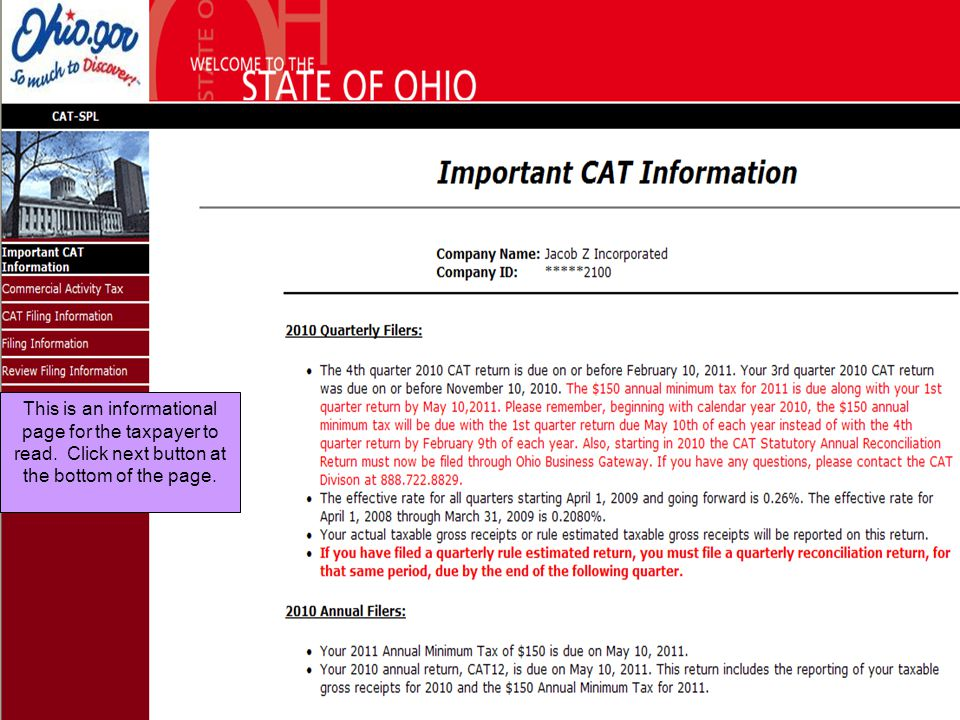 This is an informational page for the taxpayer to read. Click next button at the bottom of the page.