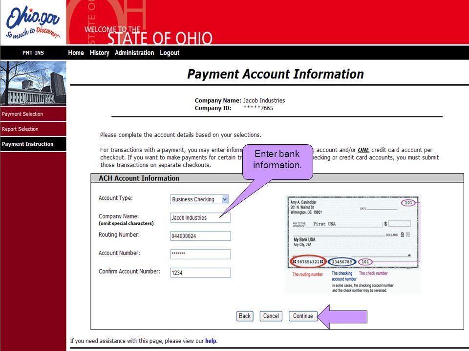 Enter bank information.
