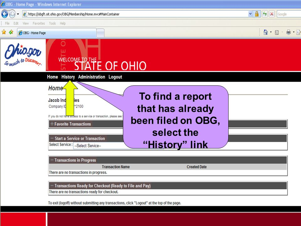 """To find a report that has already been filed on OBG, select the """"History"""" link"""