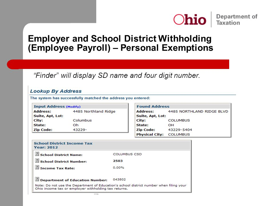 """Employer and School District Withholding (Employee Payroll) – Personal Exemptions """"Finder"""" will display SD name and four digit number."""