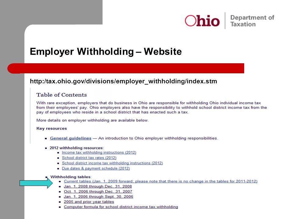 Employer Withholding – Website http:/tax.ohio.gov/divisions/employer_withholding/index.stm