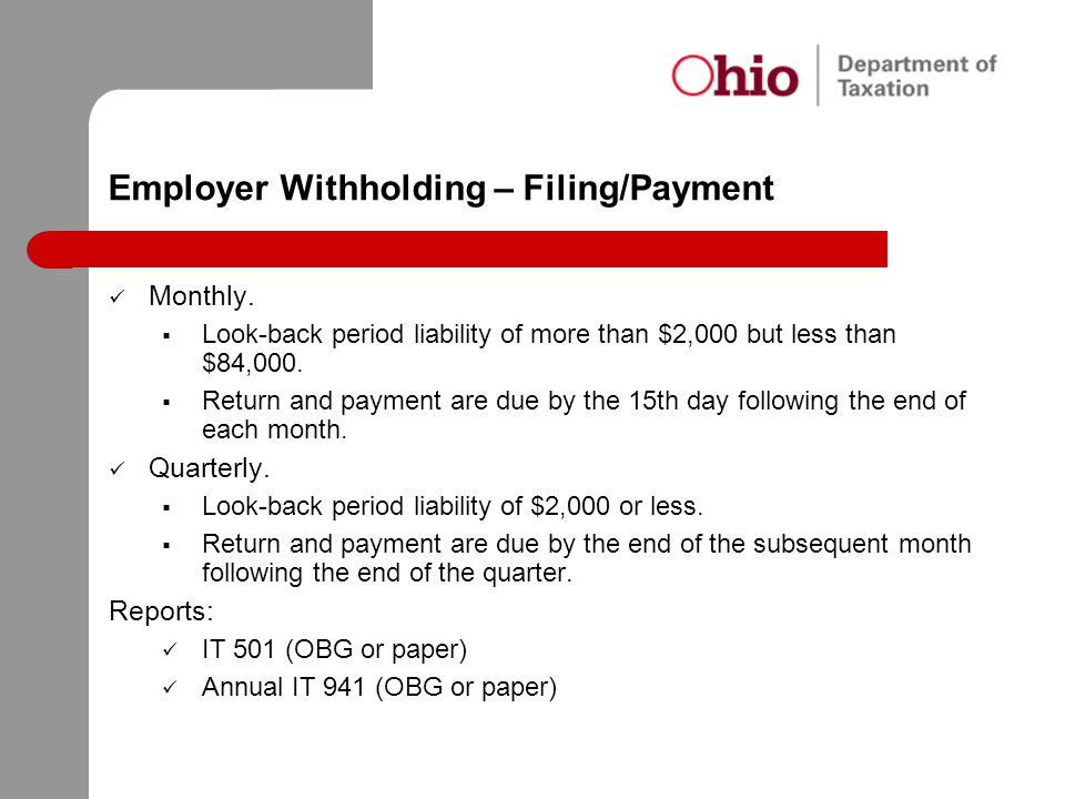 Employer Withholding – Filing/Payment Monthly.  Look-back period liability of more than $2,000 but less than $84,000.  Return and payment are due by
