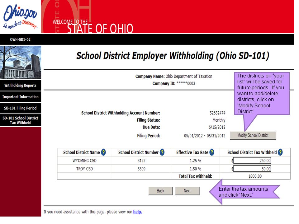 """The districts on """"your list"""" will be saved for future periods. If you want to add/delete districts, click on 'Modify School District' Enter the tax am"""