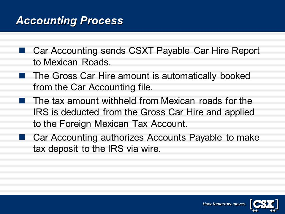 Accounting Process Car Accounting sends CSXT Payable Car Hire Report to Mexican Roads.