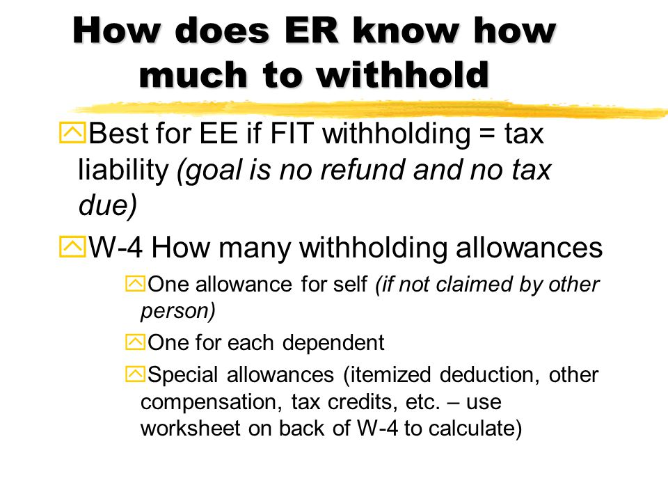 Withholding on Supplemental Wages zItems like vacation pay, retroactive increases and bonuses zCan add to regular wages and utilize wage bracket or % method on total gross or zCan withhold at flat 28% if supplemental wage check issued separately