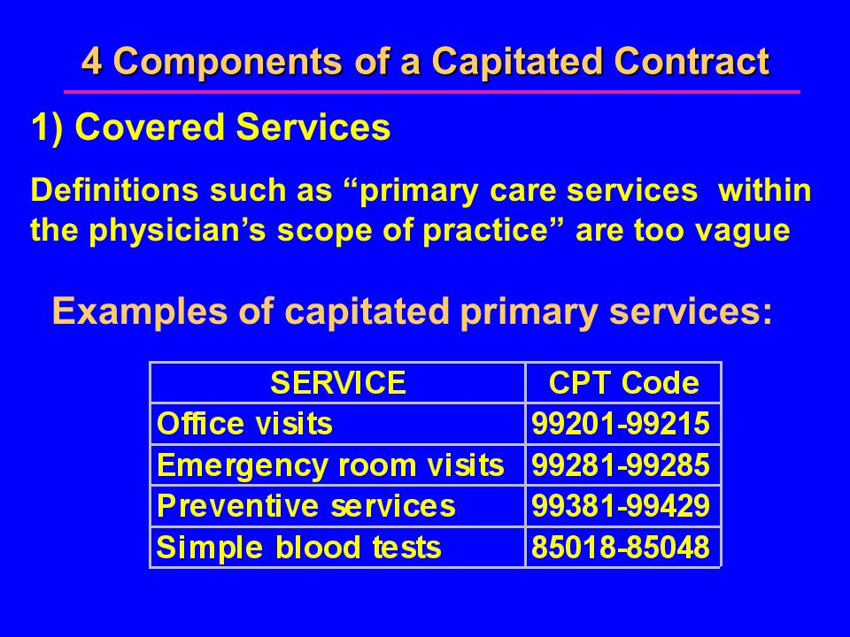 4 Components of a Capitated Contract 1) Covered Services Definitions such as primary care services within the physician's scope of practice are too vague Examples of capitated primary services: