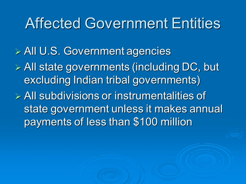 Affected Government Entities  All U.S.