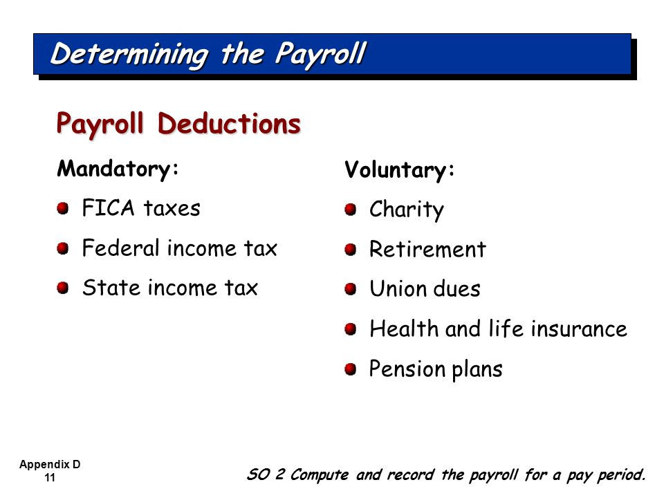 Appendix D 11 Mandatory: FICA taxes Federal income tax State income tax Payroll Deductions SO 2 Compute and record the payroll for a pay period.