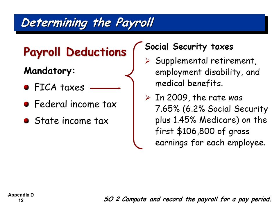 Appendix D 12 Mandatory: FICA taxes Federal income tax State income tax Payroll Deductions SO 2 Compute and record the payroll for a pay period.