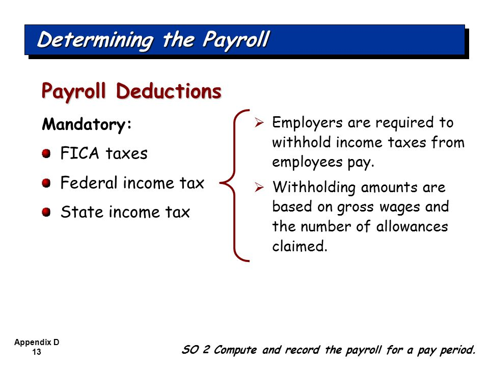 Appendix D 13 Mandatory: FICA taxes Federal income tax State income tax Payroll Deductions SO 2 Compute and record the payroll for a pay period.