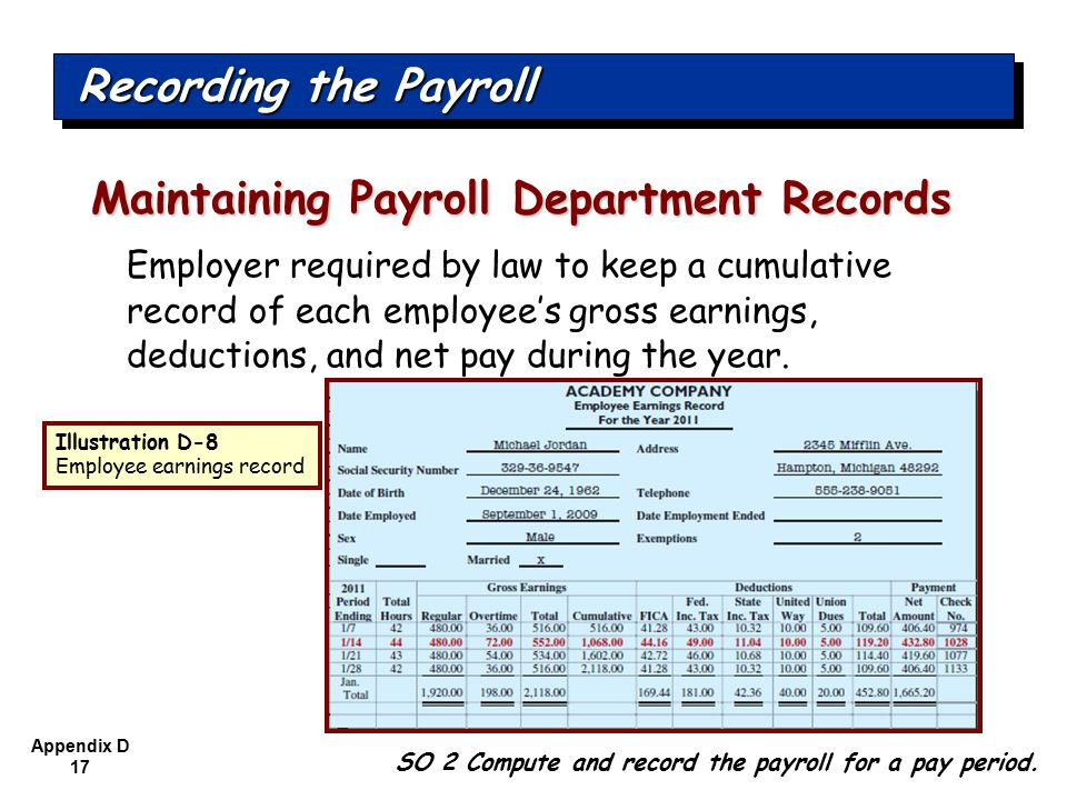 Appendix D 17 Employer required by law to keep a cumulative record of each employee's gross earnings, deductions, and net pay during the year.