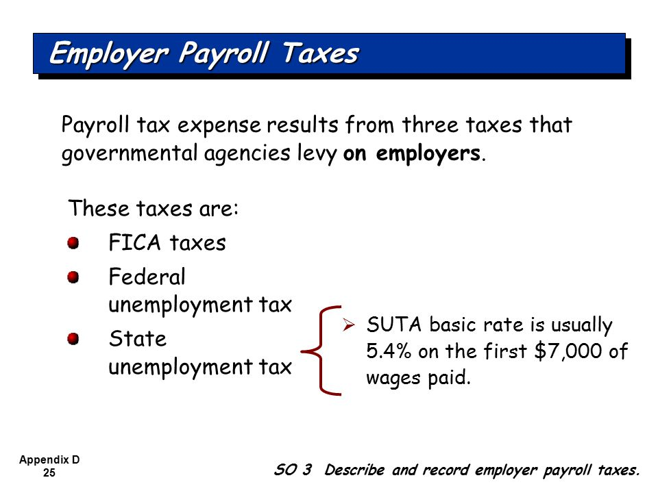 Appendix D 25 Payroll tax expense results from three taxes that governmental agencies levy on employers.