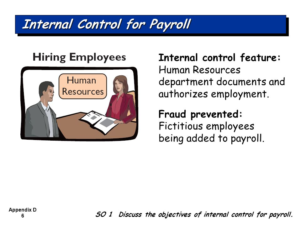 Appendix D 6 Internal control feature: Human Resources department documents and authorizes employment.