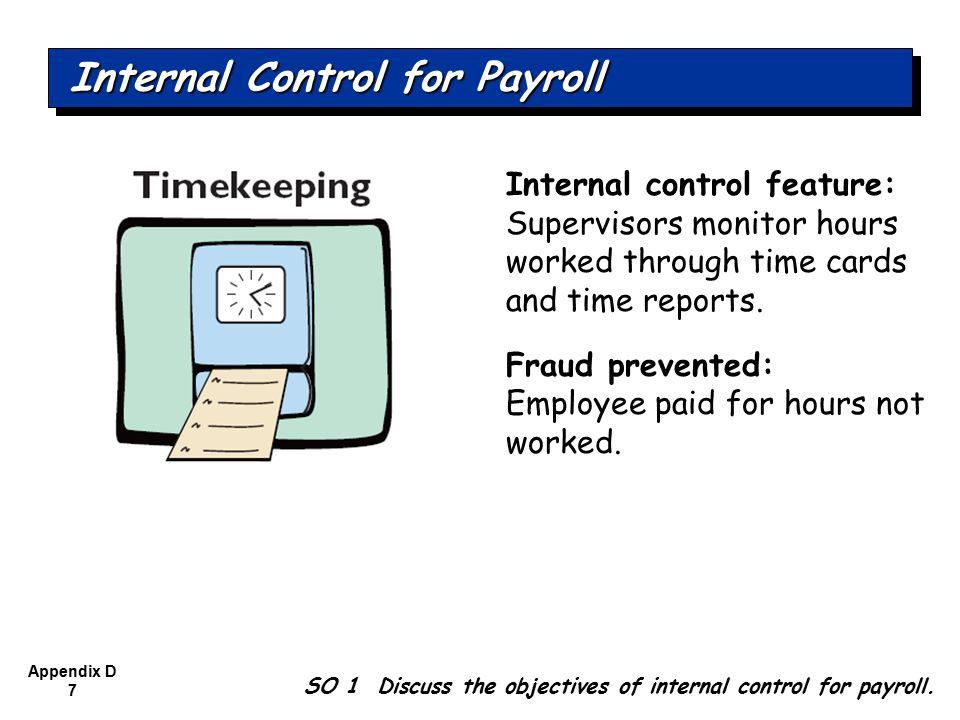 Appendix D 8 Internal control feature: Two (or more) employees verify payroll amounts; supervisor approves.