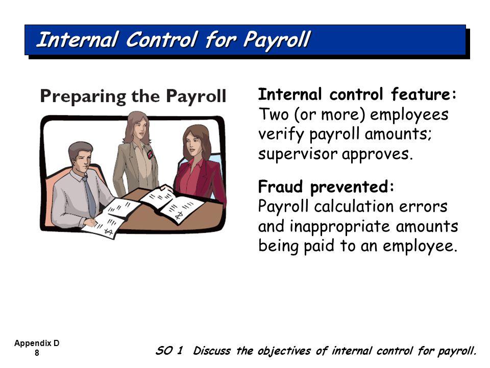 Appendix D 9 Internal control feature: Treasurer signs and distributes prenumbered checks.