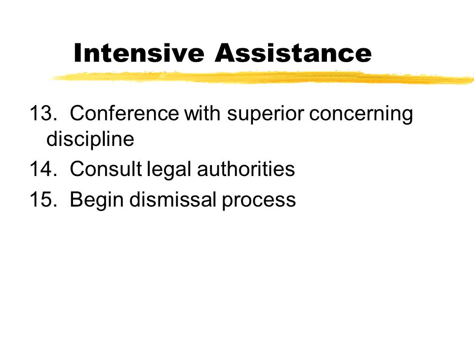 Intensive Assistance 13. Conference with superior concerning discipline 14.