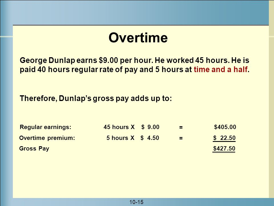 10-15 George Dunlap earns $9.00 per hour. He worked 45 hours.