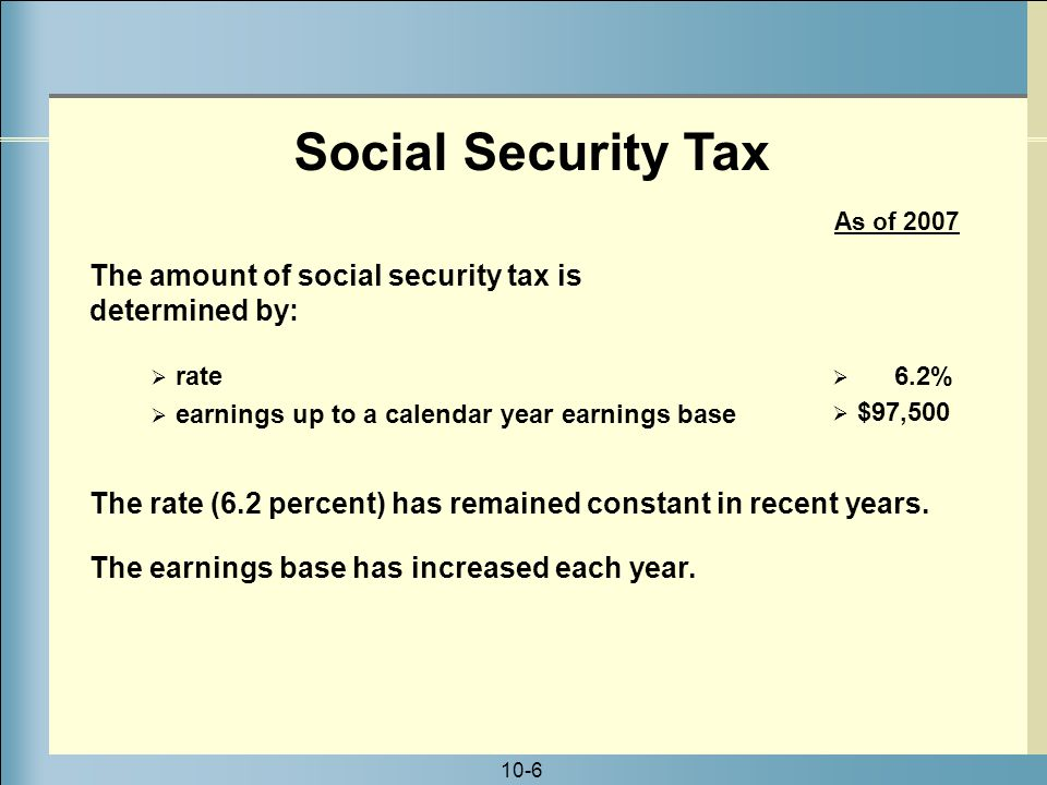 10-6 Social Security Tax The rate (6.2 percent) has remained constant in recent years.