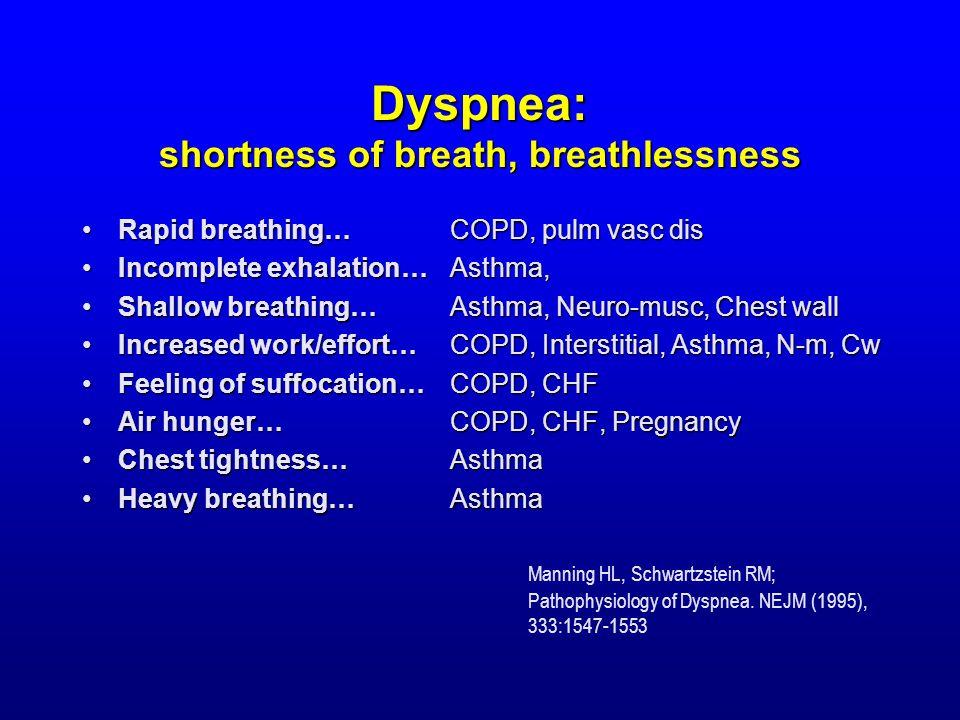 Dyspnea: shortness of breath, breathlessness Rapid breathing…Rapid breathing… Incomplete exhalation…Incomplete exhalation… Shallow breathing…Shallow breathing… Increased work/effort…Increased work/effort… Feeling of suffocation…Feeling of suffocation… Air hunger…Air hunger… Chest tightness…Chest tightness… Heavy breathing…Heavy breathing… COPD, pulm vasc dis Asthma, Asthma, Neuro-musc, Chest wall COPD, Interstitial, Asthma, N-m, Cw COPD, CHF COPD, CHF, Pregnancy AsthmaAsthma Manning HL, Schwartzstein RM; Pathophysiology of Dyspnea.