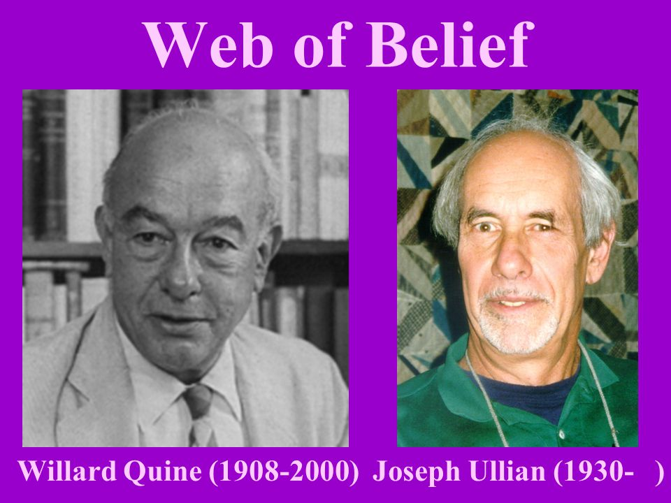 Web of Belief Willard Quine (1908-2000) Joseph Ullian (1930- )