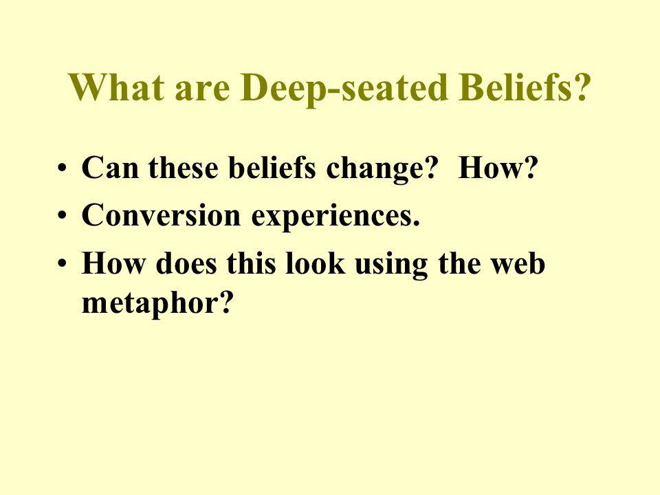 What are Deep-seated Beliefs. Can these beliefs change.