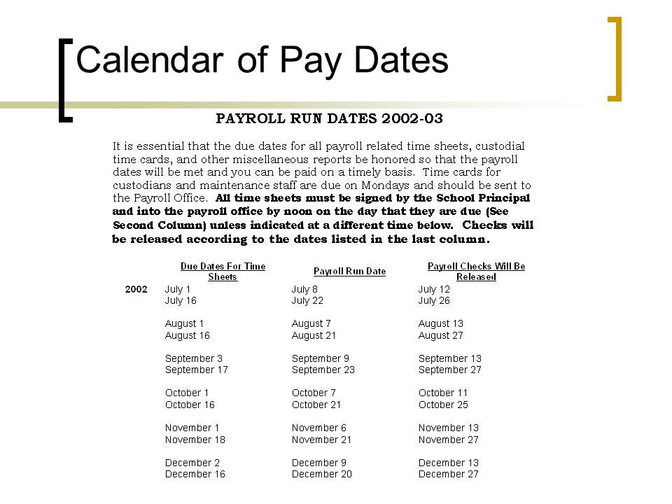 Calendar of Pay Dates